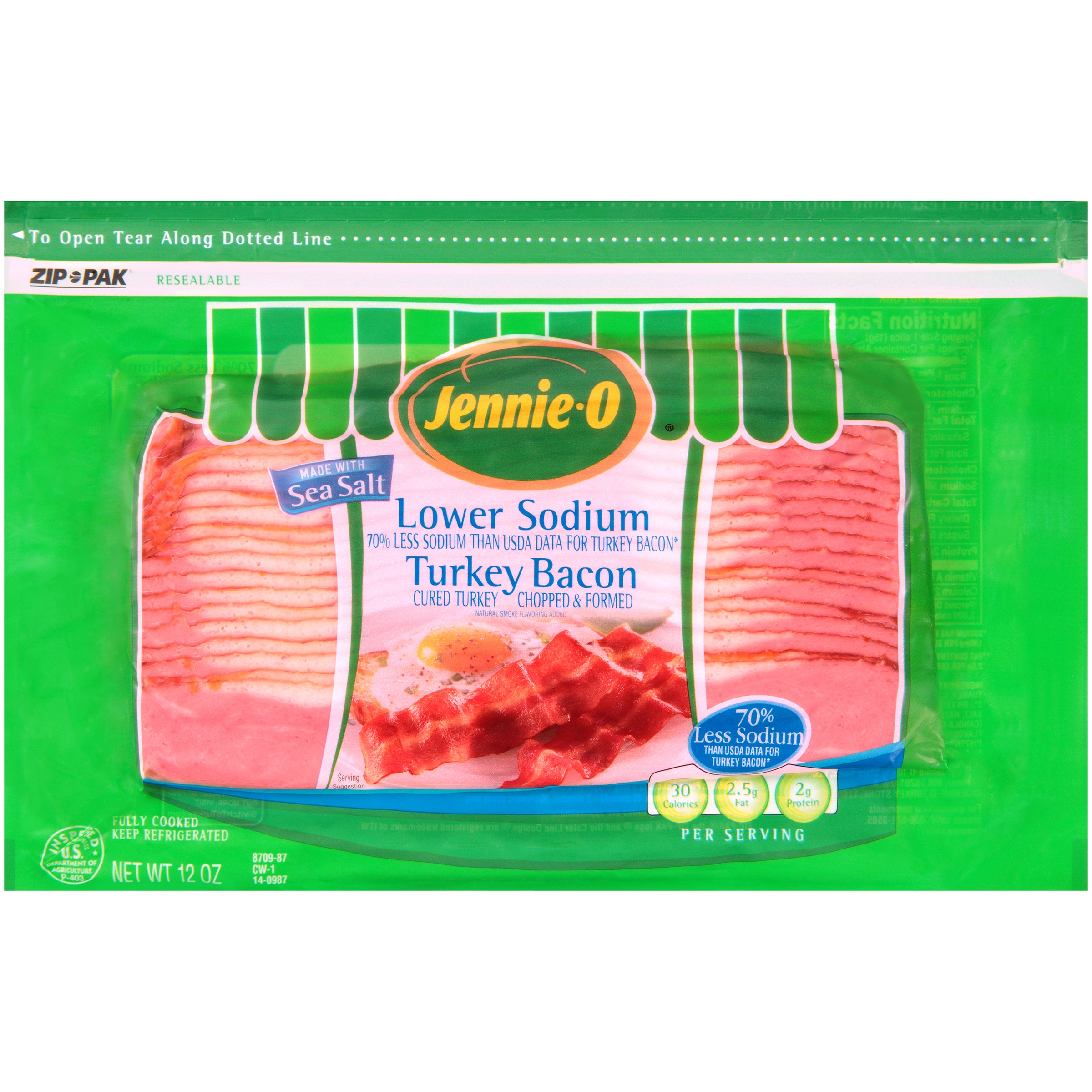 Jennie-O® Lower Sodium Turkey Bacon 12 oz. ZIP-PAK®