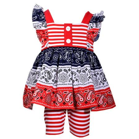 Girls Patriotic Baby Clothing or Girls Sizes Bandana Print Short Set 4T