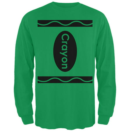 Halloween Crayon Costume Irish Green Adult Long Sleeve - Old Irish Halloween Traditions