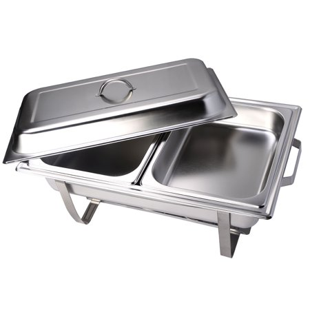 GHP Pack of 2 Stainless Steel 9-Quart Rectangular Buffet Chafing Dish with Water Pan