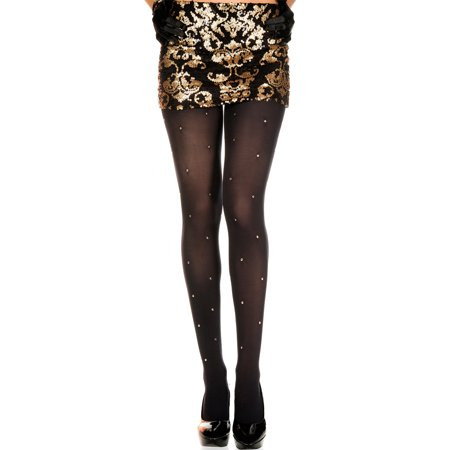 - MUSIC LEGS Women's Golden Studs Spandex Tights, Black, One Size