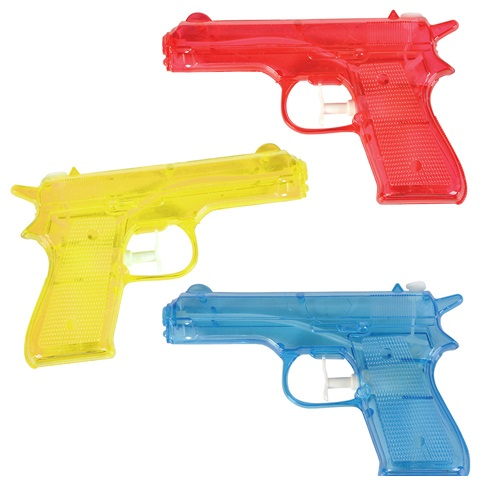 "6"" Water Gun (package of 12) - Red, Blue and Yellow Guns"