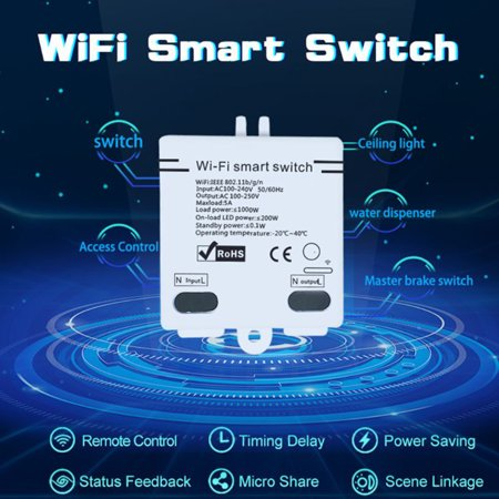 Wifi Switch Timer Wireless APP Remote Control Intelligent Home Module AC100-240V 5A for Home Appliances and Lamps