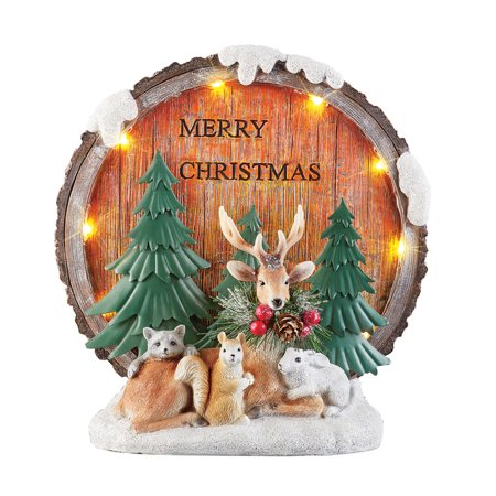 Lighted Woodland Animals Rustic Christmas Tabletop Decoration - Reads