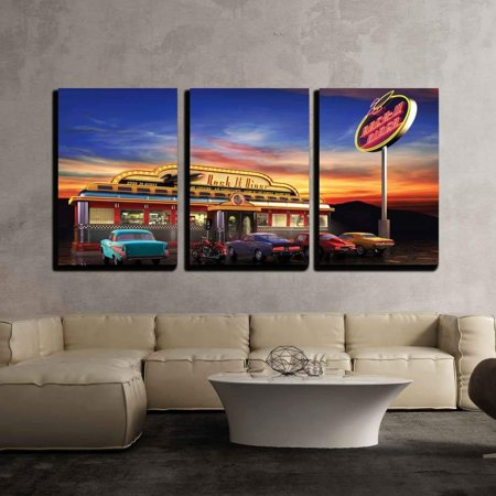 wall26 - 3 Piece Canvas Wall Art - Retro American Diner at Dusk - Modern Home Decor Stretched and Framed Ready to Hang - 16