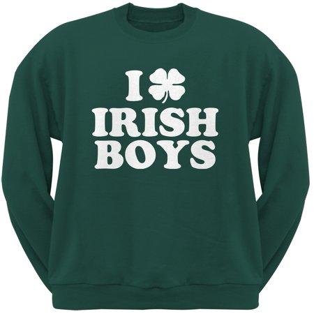I Shamrock Love Irish Boys Green Adult Crew Neck Sweatshirt
