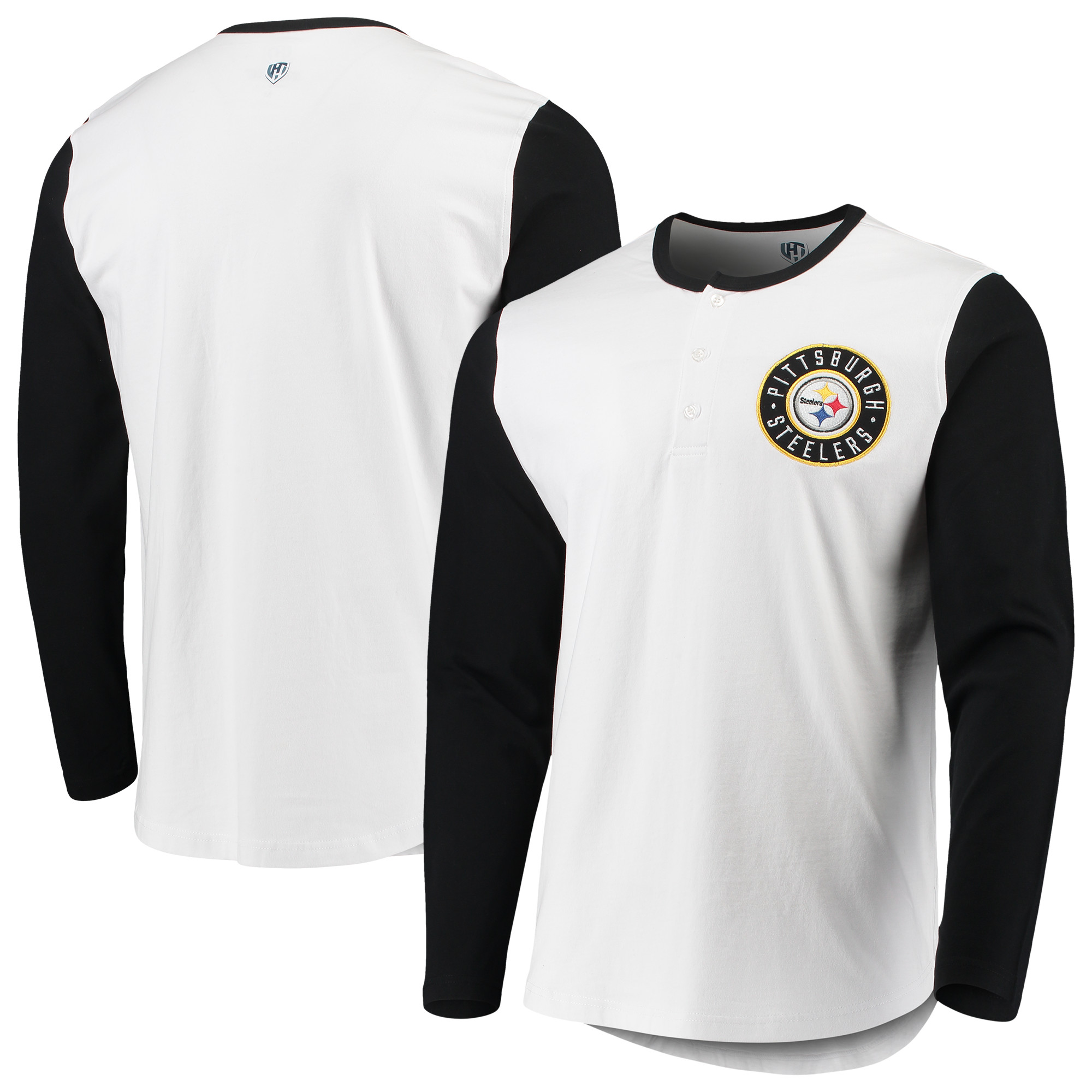 Pittsburgh Steelers G-III Sports by Carl Banks Tradition Henley Long Sleeve T-Shirt - White/Black