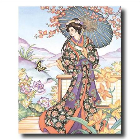 Japanese Girl Butterfly Asian Wall Picture Art Print