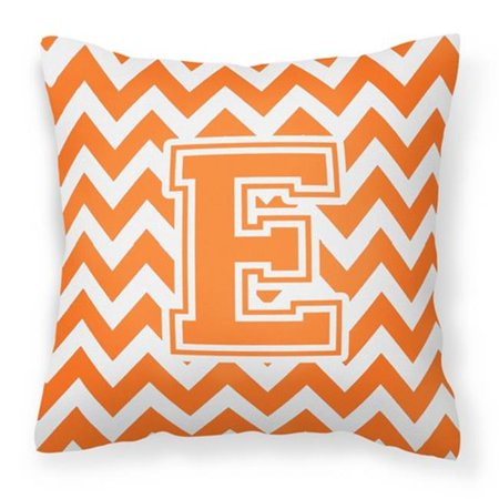 Carolines Treasures CJ1046-EPW1414 Letter E Chevron Orange & White Fabric Decorative Pillow - image 1 of 1