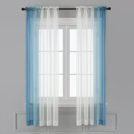 Ombre Sheer Curtains Faux Linen Gradient Semi Voile Rod Pocket Bedroom And Living Room Curtains Set Of 2 Window Curtain Panels 52 W X 84 L Walmart Canada