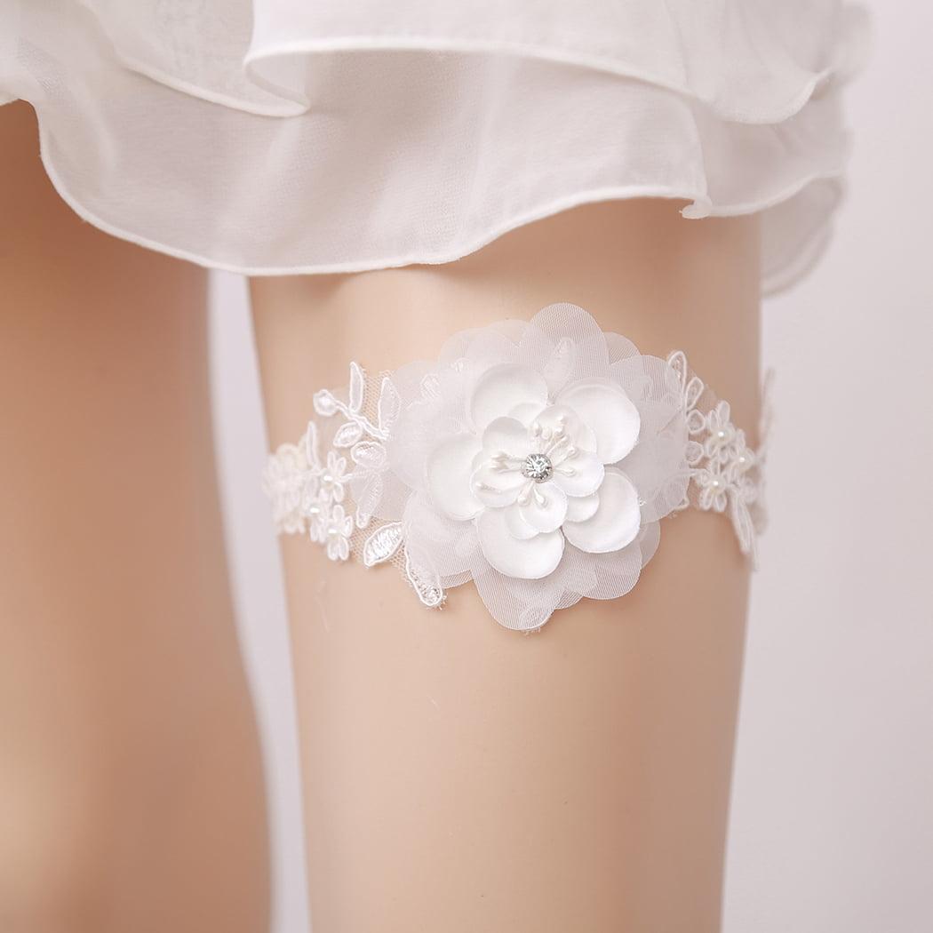 1af8c412b33 Wedding Garter Fashionable Flower Pearl Beads Decor Lace Bridal Garter  Wedding Garter Belt - Walmart.com