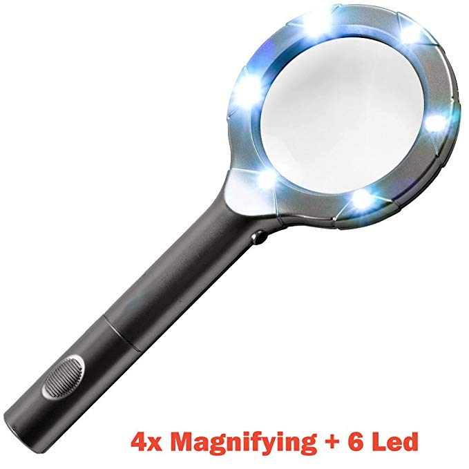 iMBAPrice SuperBright 6 Led Light with 4x Magnifying Glass + 2AA Batteries Included- Black