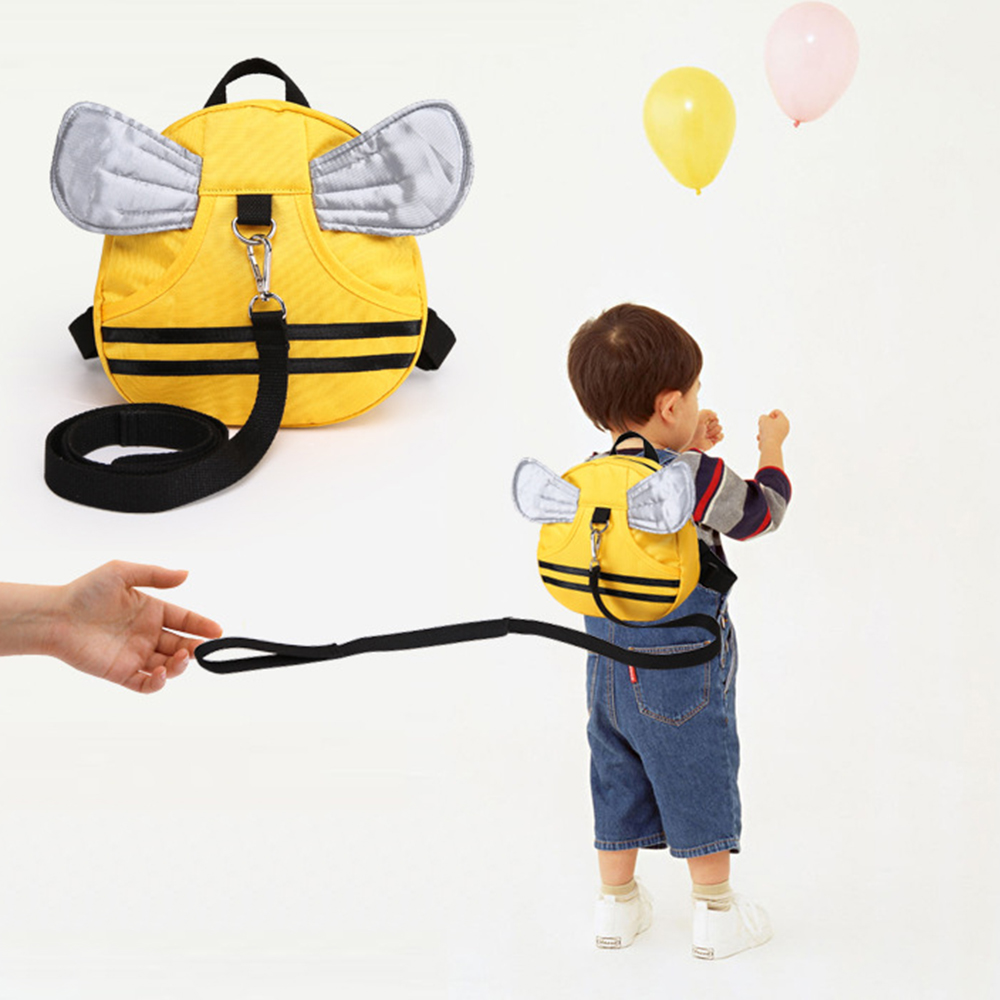 Anti Lost Kids Backpack Cute Bee Design Children Baby Safety Keeper Toddler Walking Satchel Bag Strap Yellow+Silver by
