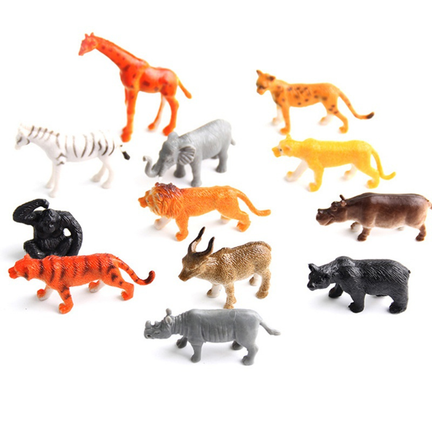 MY FARM PLASTIC ANIMALS SET CHILDRENS KIDS WILD PETS FIGURES PLAYSET TOY 12PCS