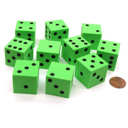 Set of 10 D6 Large 25mm Foam Dice - Green with Black Spots - Green Fuzzy Dice