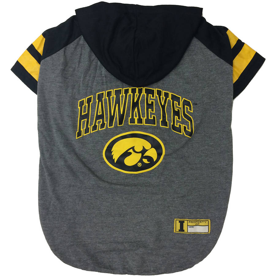 Pets First College Iowa Hawkeyes Pet Hoody Tee Shirt, 4 Sizes Available