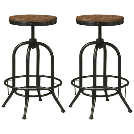 Signature Design by Ashley Pinnadel Tall Swivel Stool Set of 2 Light Brown Signature Two Light