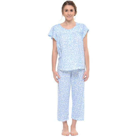 - Casual Nights Women's Short Sleeve Smocked Floral Capri Pajama Set