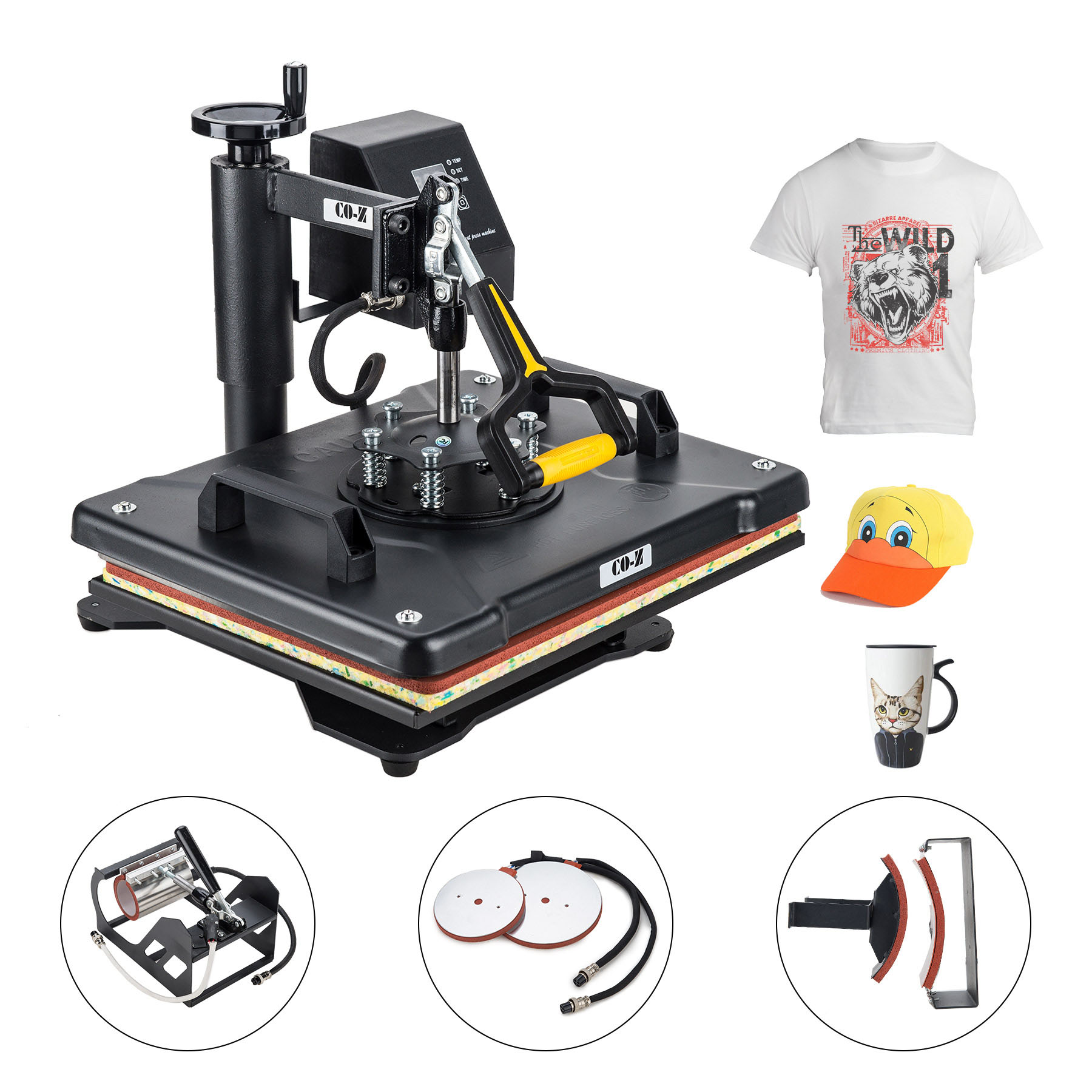 T Shirt Heat Press Machine for Mug Hat Plate Cap Mouse Pad 1400W