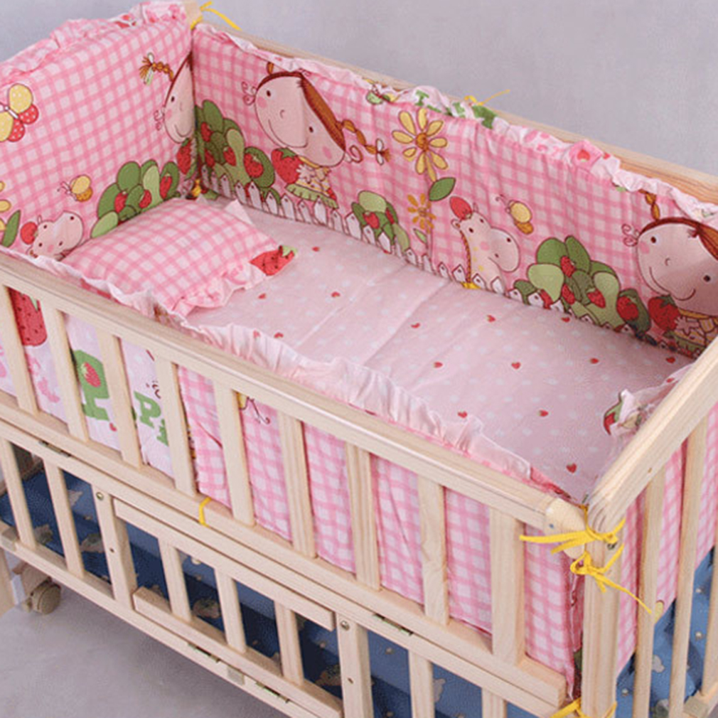 110*60cm Pink Baby Crib Safety Bumpers 5 in 1 Baby Breath...