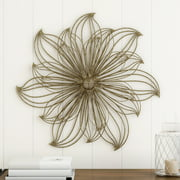 Wall Decor-Metallic Layered Large Wire Flower by Lavish Home (Gold)