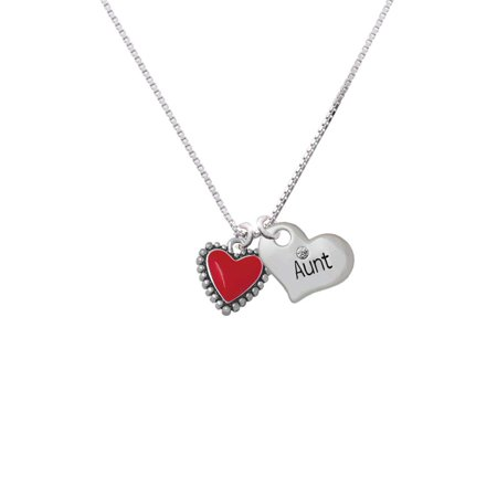 Silvertone Red Heart with Beaded Border Aunt Heart Necklace