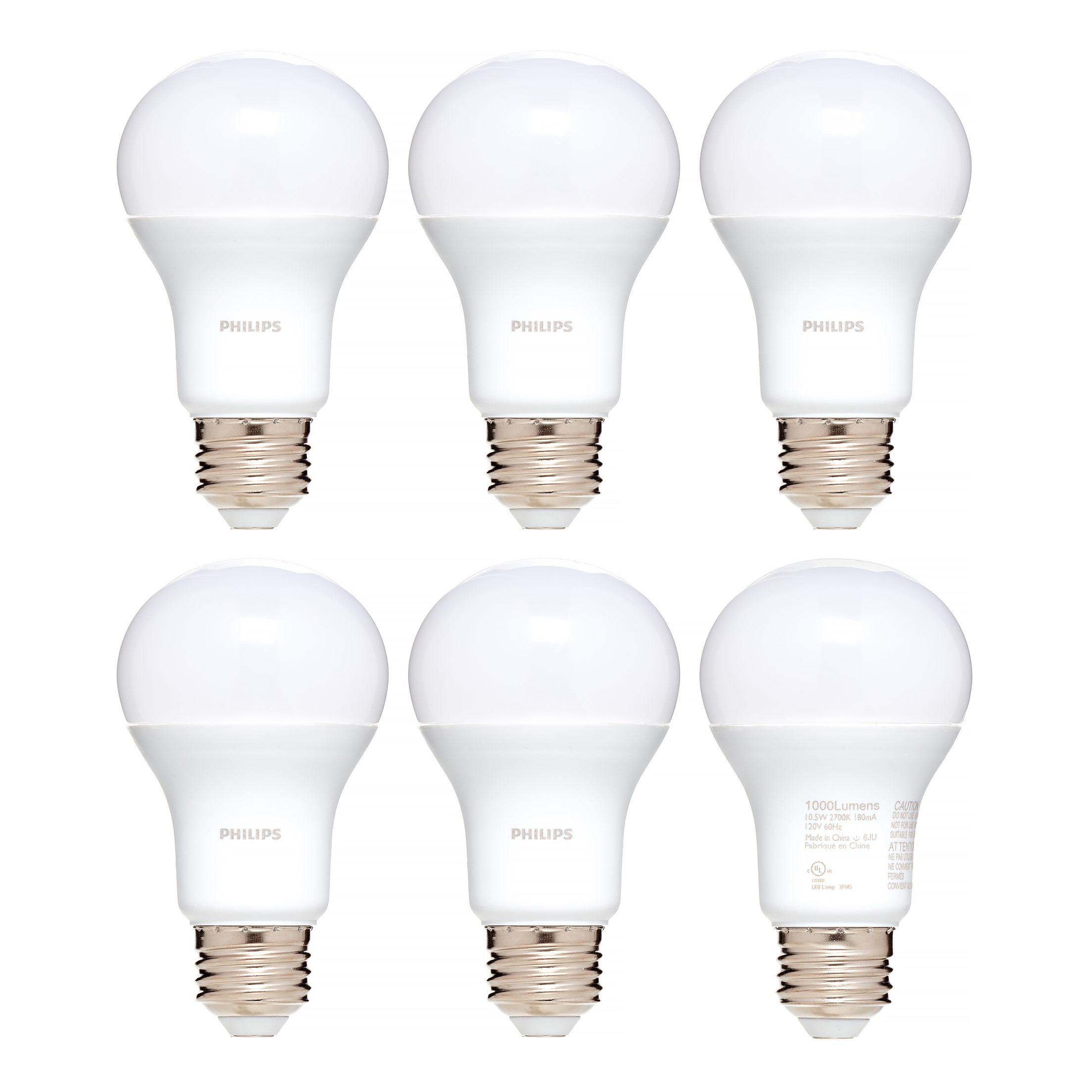 Philips LED Light Bulb, A19, Soft White, 75 WE, 6 Ct