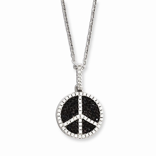 Sterling Silver & CZ Brilliant Embers Black Peace Sign 18in Necklace