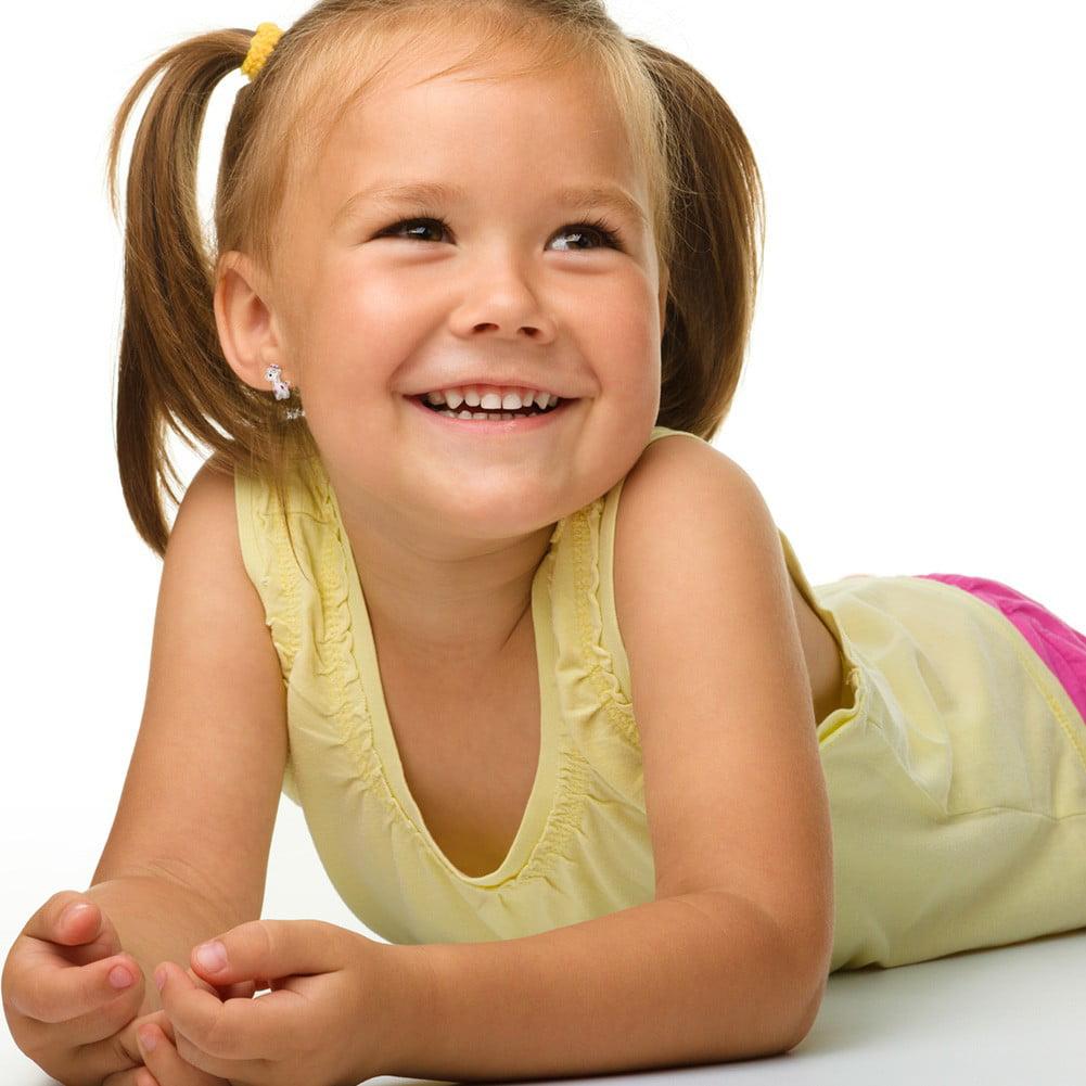 Rhodium Plated Pink White Enamel Giraffe Toddlers Screw Back Earrings