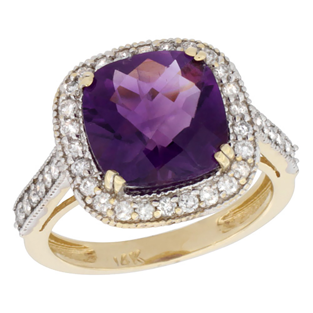 10k Yellow Gold Natural Amethyst Ring Cushion-cut 10x10mm Diamond Halo, size 5 by Gabriella Gold