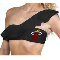 Miss Fanatic Miami Heat Women's Solid Ruffle Bathing Suit Top - Black