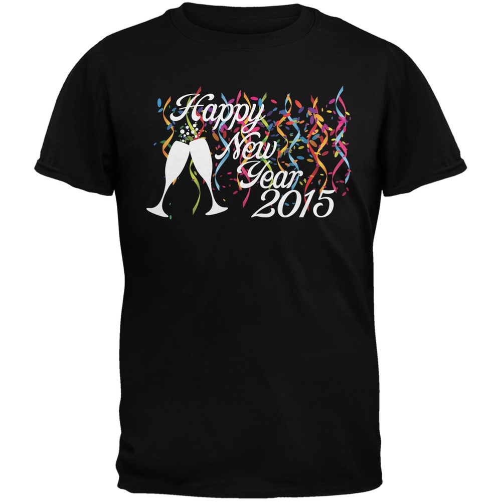 Happy New Year Party Black Adult T-Shirt