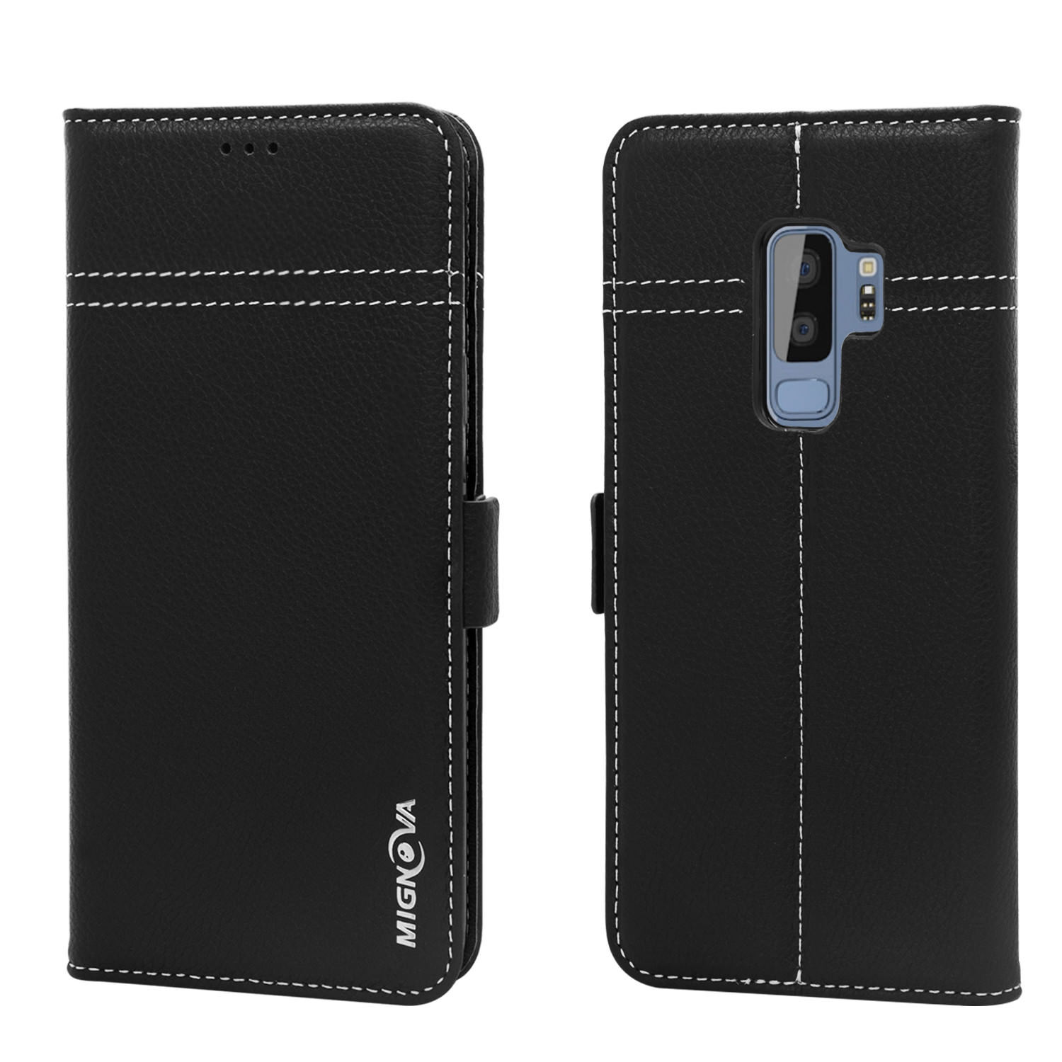 Mignova Galaxy S9 Plus Genuine Leather Case, Wallet Folding Flip Case with Kickstand, Card Holder, Magnetic Closure Protective Cover for Samsung Galaxy S9+ 2018 Release –(Black)