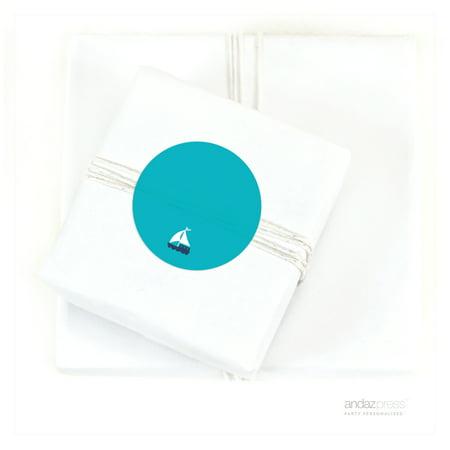 Sailboat Sail Away Nautical Birthday Circle Gift Labels, 40-Pack