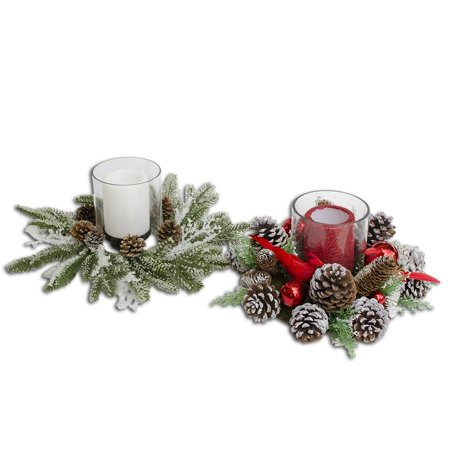 """15"""" (D) Set of 2 Flameless Candles in Acorn Christmas Centerpieces"""