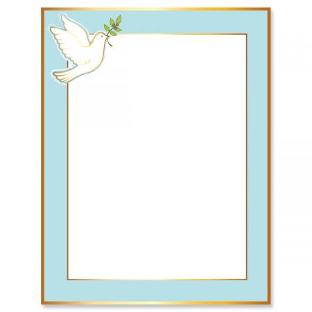 - Dove Frame Faith Letter Papers - Set of 25, Religious stationery papers, 8 1/2