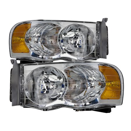 2002-2005 Dodge Ram 1500/2003-2005 Ram 2500-3500 Chrome Headlight Set w/Xenon Bulbs CH2502135 & CH2503135