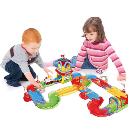 Kids Toy Electric Train Set With Lights and Sound Colorful Tracks Battery Operated Railway Car Set with 3D Puzzles for Kids Christmas Train Toys F-250