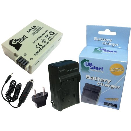 Canon Rebel T3i Battery and Charger with Car Plug and EU Adapter - Replacement for Canon LP-E8 Digital Camera Batteries and Chargers (1200mAh, 7.2V, Lithium-Ion)