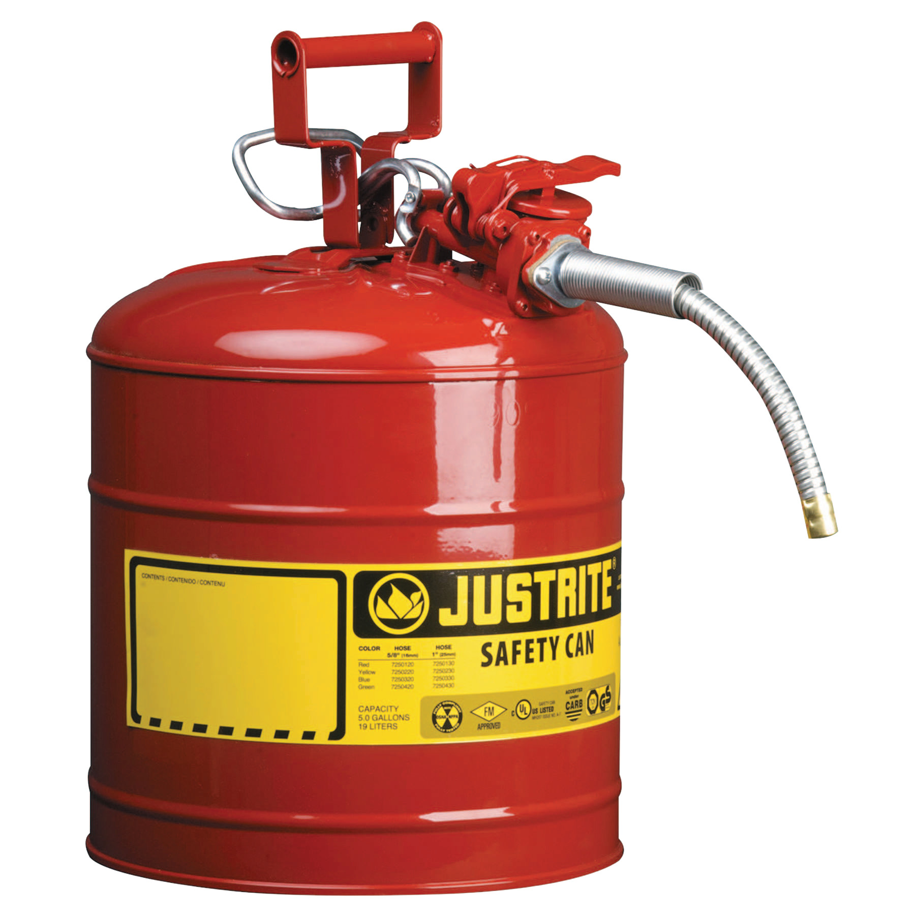 Justrite Type II AccuFlow Safety Cans, Flammables, 5 gal, Red