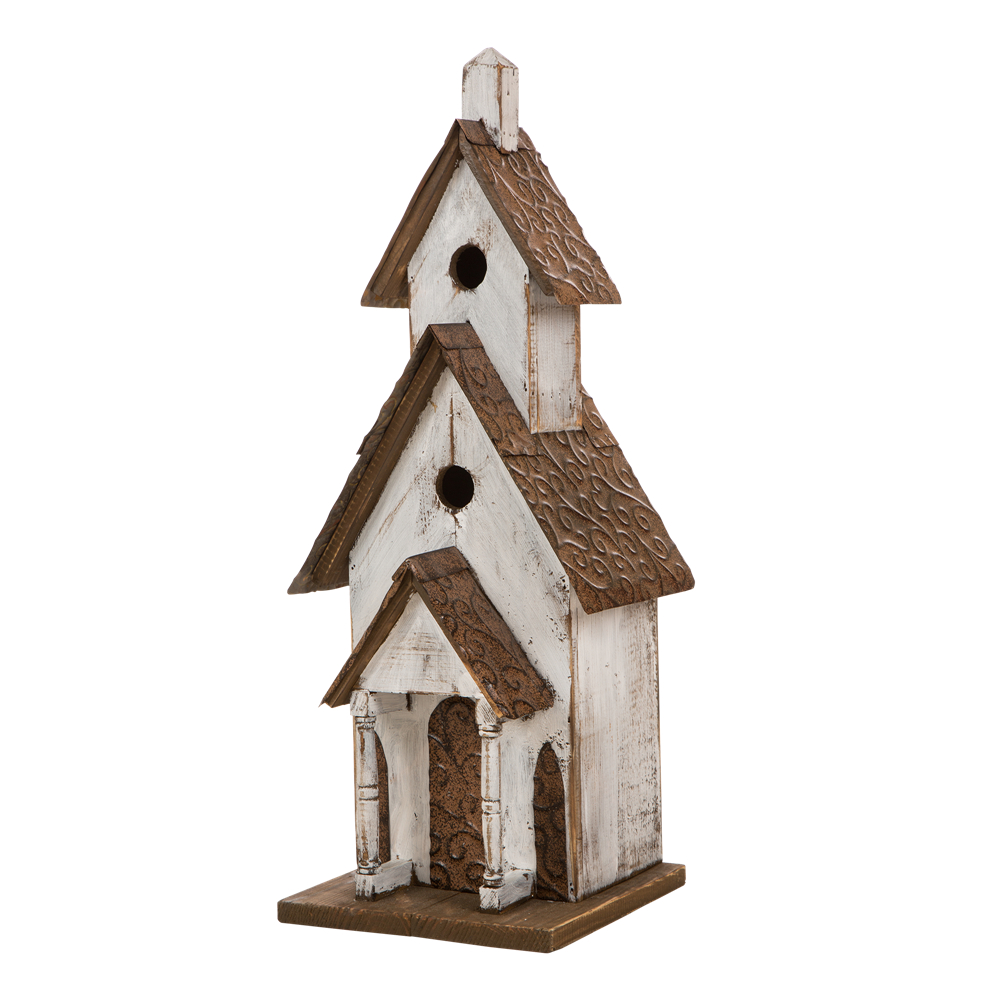 "Glitzhome Rustic Wood Church Birdhouse Bird Friendly Home Decor, 23.62""H"