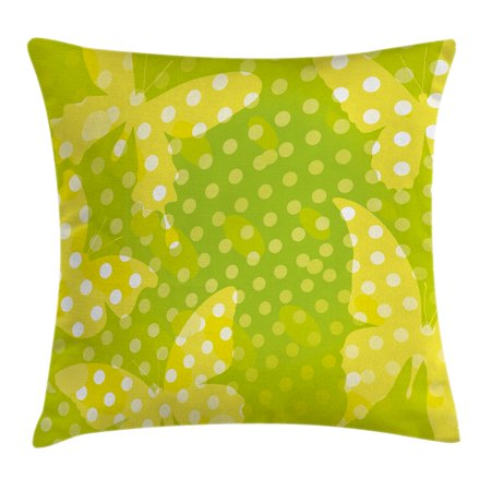 Digital Decor Throw Pillow Cushion Cover, Modern Design with Butterfly Shapes and Dots Print, Decorative Square Accent Pillow Case, 16 X 16 Inches, Neon Light Green Yellow and White, by Ambesonne