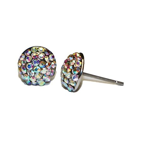 Hypoallergenic Surgical Steel Rhodium Plated Crystal Ball Earrings With Rainbow Cubic Zirconia Stones