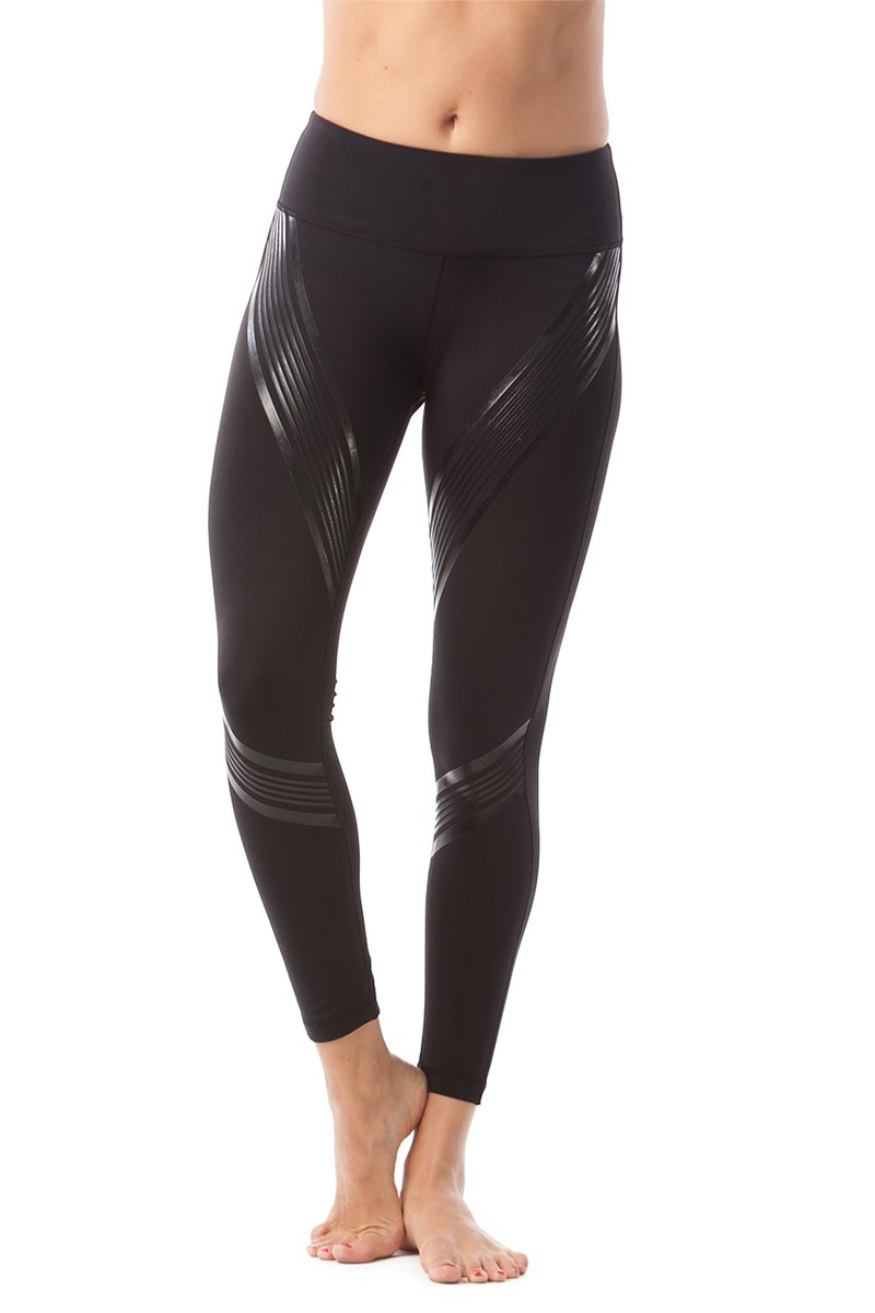 90 Degree By Reflex - Silicon Gloss Striped Ankle Legging