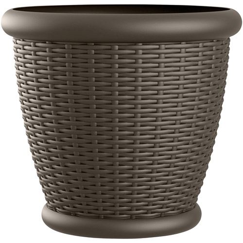 "Suncast 18"" Wicker Planter, Java, Contains 2 Planters"