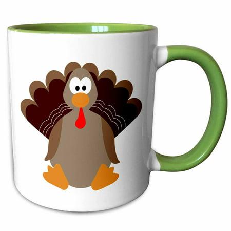 3dRose Cute Thanksgiving Turkey Cartoon - Two Tone Green Mug, 11-ounce ()