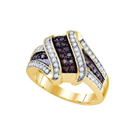 - 10kt Yellow Gold Womens Round Brown Diamond Crossover Ring 1/2 Cttw