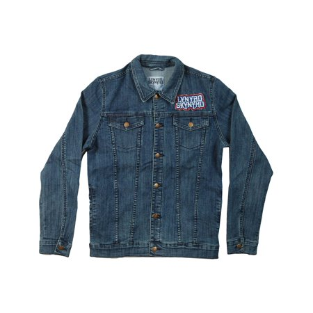 - Lynyrd Skynyrd Men's  Biker Patch Denim Jacket Denim Jacket Denim