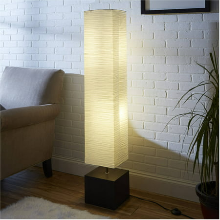 Mainstays White Rice Paper Floor Lamp with Dark Wood Base
