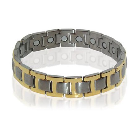 Gem Avenue Titanium New Silver Tone Mens Magnetic 8 5 Inch Therapy Bracelet
